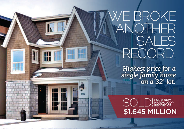 We broke another sales record. Highest price for a single family home on a 32' lot.